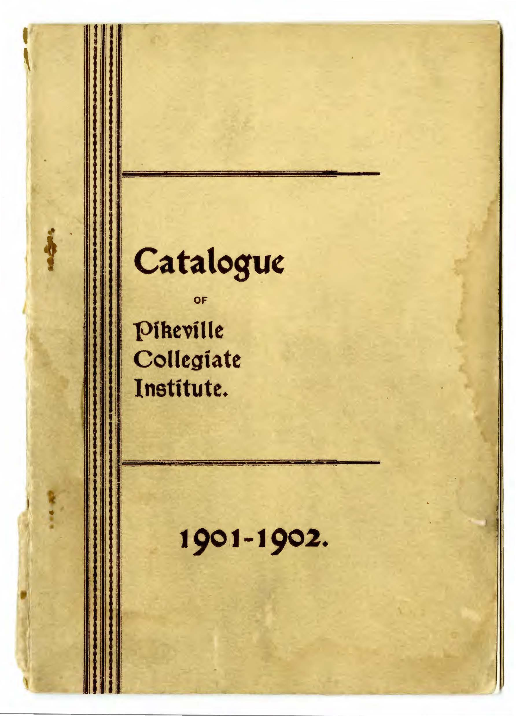 1901 Pikeville Collegiate Institute Catalog Cover